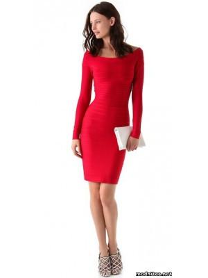 Длинные красные платья рукавами фото