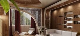 Натяжные потолки в интерьере гостиной