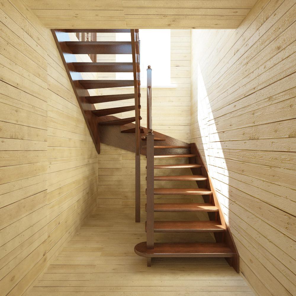 Дачная деревянная лестница